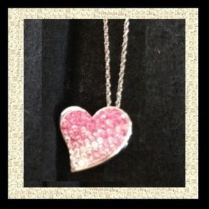 Sterling Silver Chain w/Marcasite &Swarovski Heart
